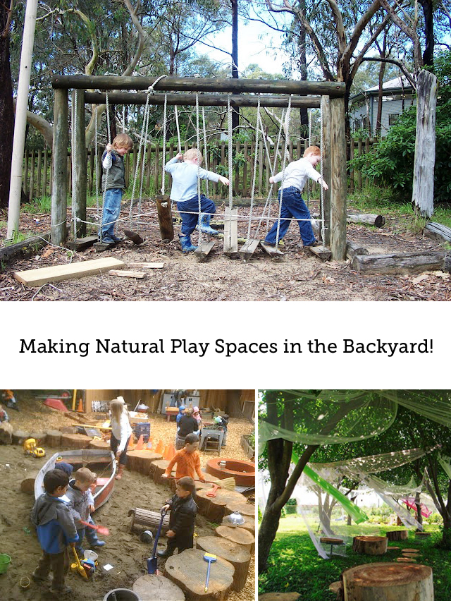 Such cool ideas on how to set up a natural play space for your kids in the backyard (part of a 4-part series) - bye, bye plastic slide - hello forts and logs!