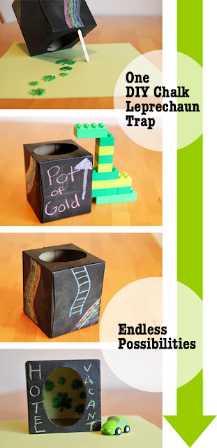 A chalkboard leprechaun trap kids can redesign every day - such a great way to get them thinking!