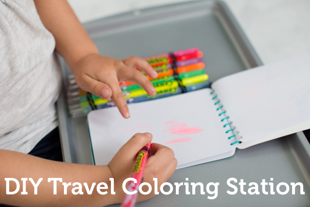 DIY coloring station - brilliant for kids and long road trips!