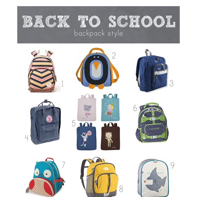 Lots of great options for back packs for little ones! I love the whole bottom row.