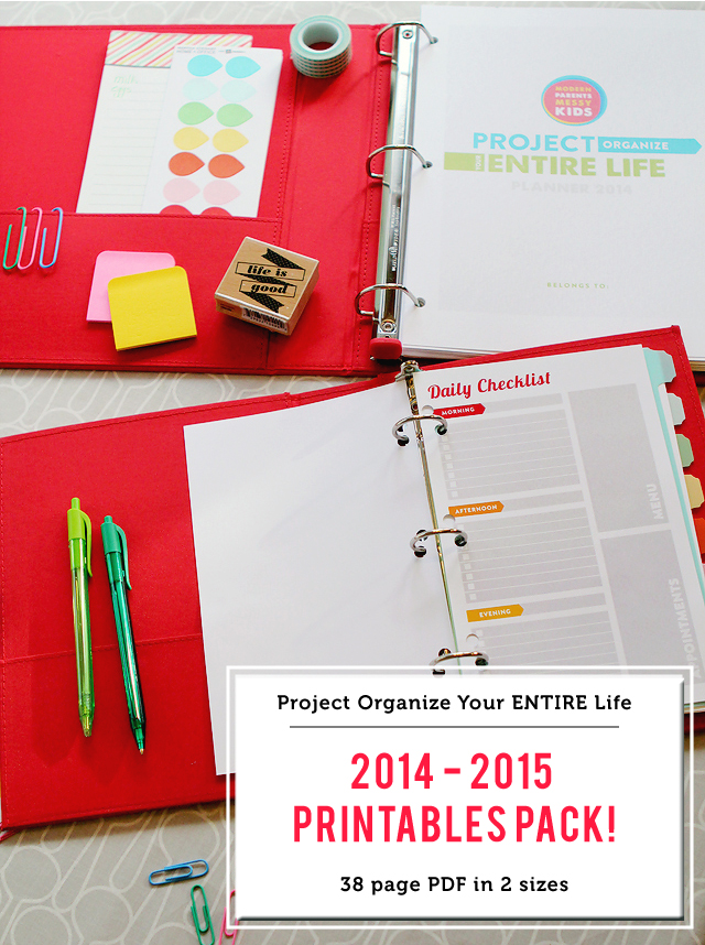 Project Organize Your ENTIRE Life 2014 - 2015 eBook & 38 page printables pack
