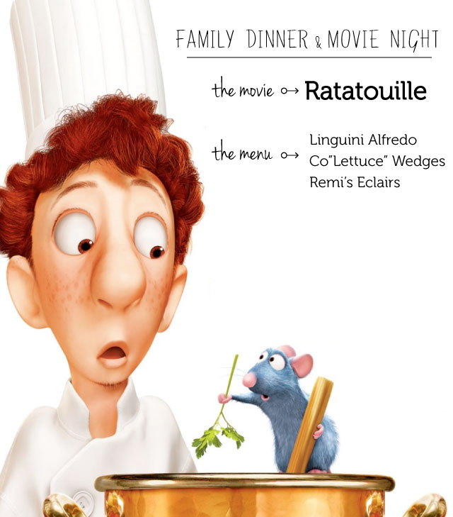 A full menu to eat with the family before watching Ratatouille - the kids loved making a whole theme night out of family movie night!