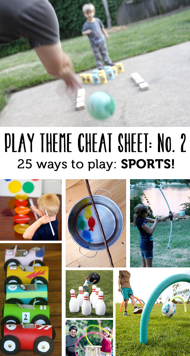 25 ways to play around a sports theme this month.  (Part of a regular play theme series - a new theme with lots of activities, books, etc. each month)
