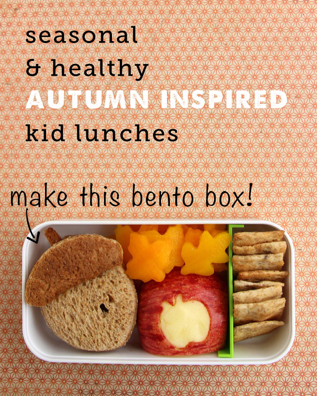 simple bento box lunch for Fall plus lots more healthy lunch ideas
