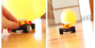Two versions of rocket balloon races - a perfect rainy day activity with the kids