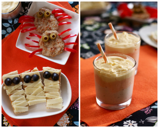 Halloween breakfast ideas: healthy candy corn smoothy, mummy toast, ghost eggs, and spider sausages