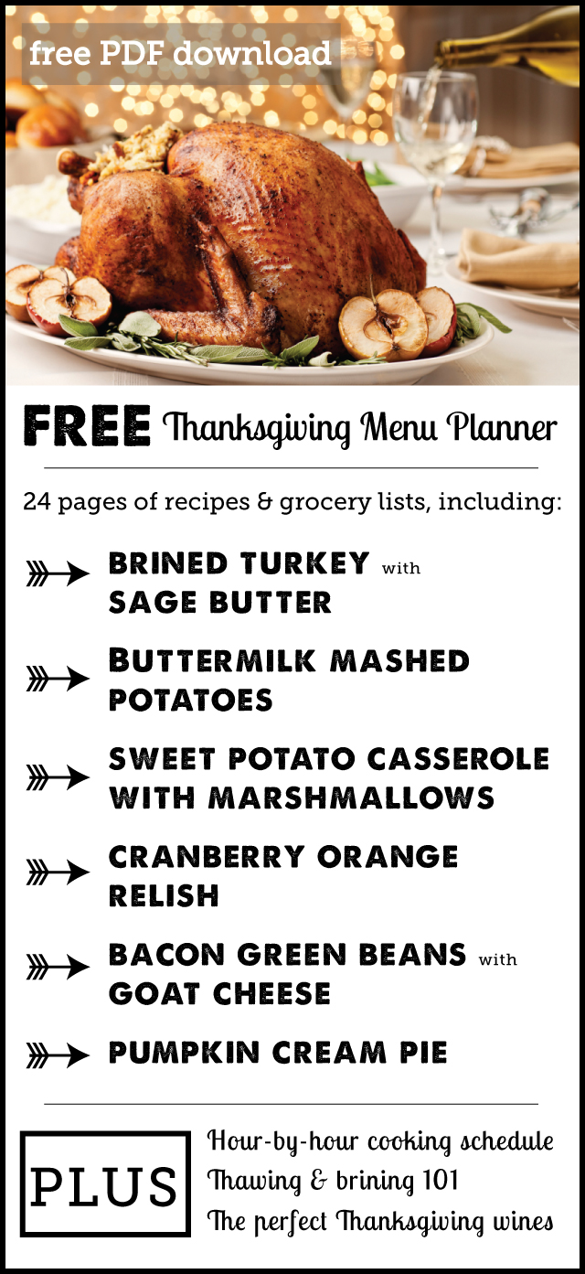 wesome free download: Thanksgiving planner with full menu & shopping list plus an hour-by-hour cooking and prep guide. (Love the suggested wines too!)