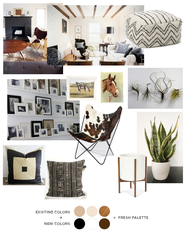 Modern Farm House Family Room: how to design around the pre-existing colors in the room