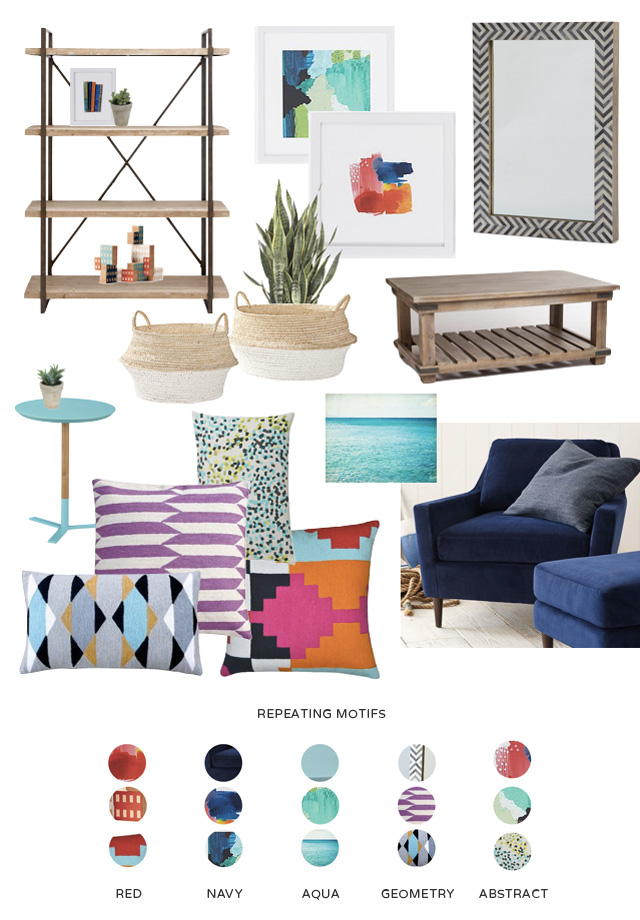 Tips on how to create cohesion in a room by repeating colors and patterns