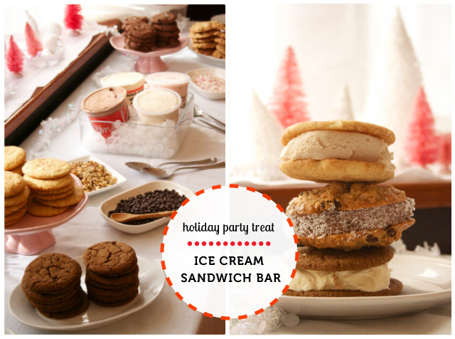 Start a new holiday party tradition: an ice cream sandwich bar in festive flavors - love the cookie recipes and ice cream flavor suggestions here.