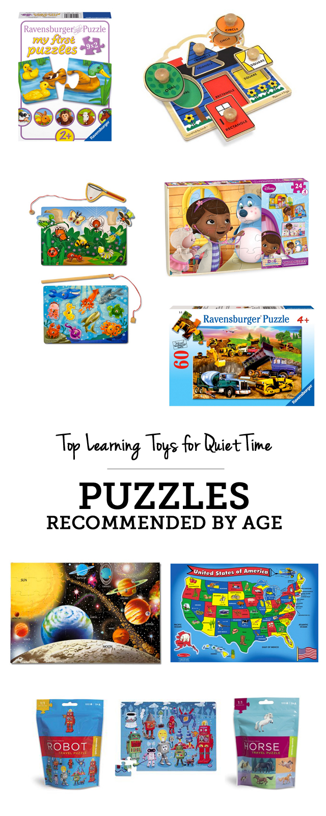 Top learning toys for quiet time: puzzles recommended by age - love this entire gift guide!