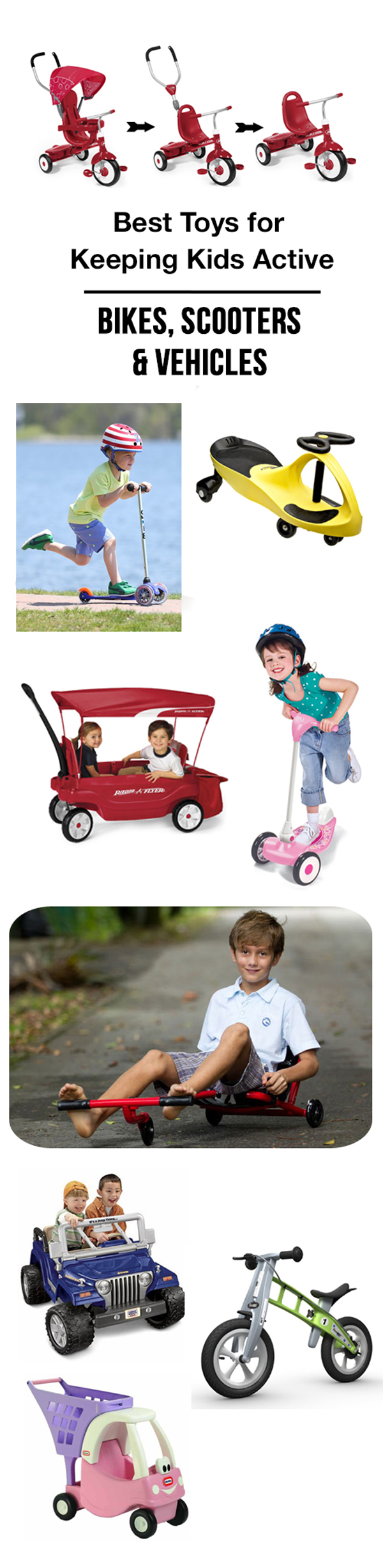 MPMK Outdoor Toy Gift Guide - Best bikes, trikes, scooters and more to get kids moving outside.