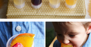 Sparkling Jell-O push pops in flavors like pomegranate jello with sugared raspberry and clementine jello with sugared raspberry and sliced orange. Doing this for New Year's Eve for sure!