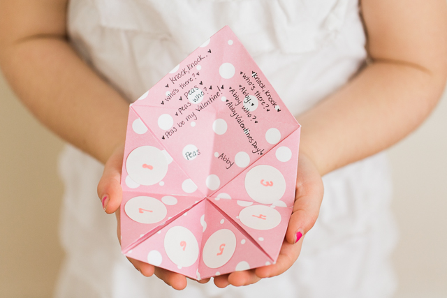 Valentine Jokes Fortune Teller - post has folding directions and 14 Valentine knock-knock jokes that my kids loved!