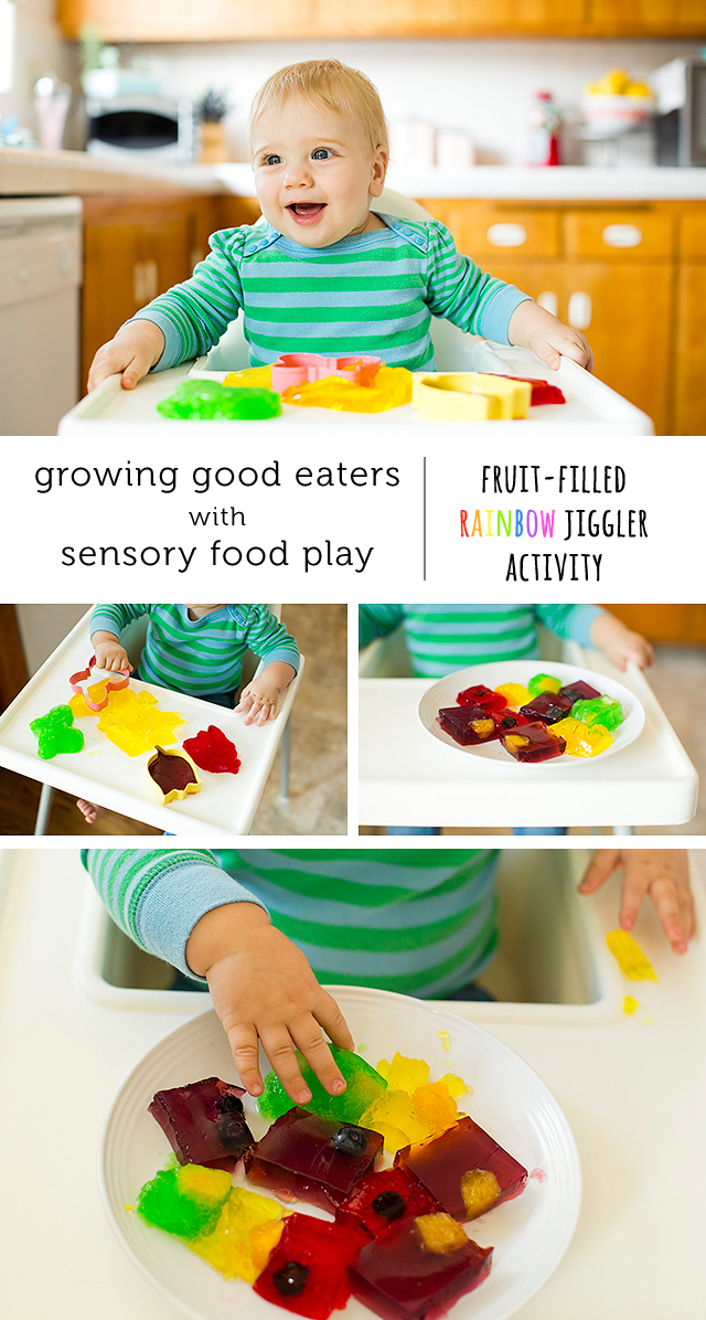 What a fun and easy way to introduce babies to new texture.  Who couldn't resist fun jello colors.  And hiding fruit in the jello is genius!