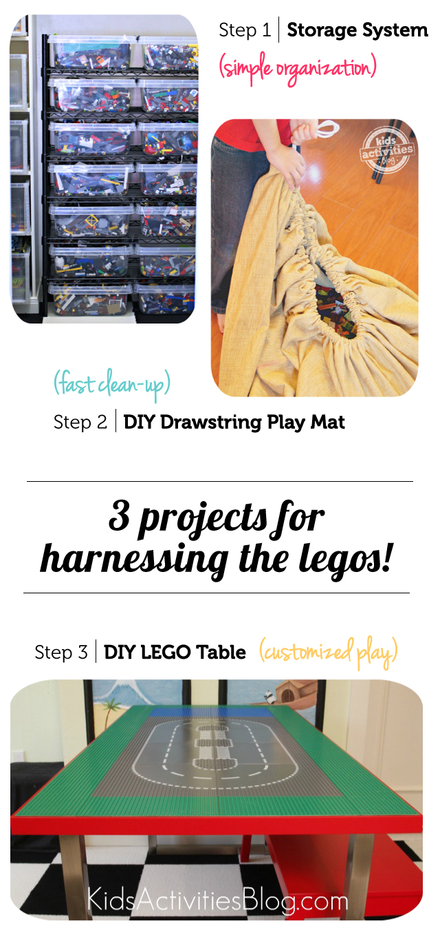 Love all three of these projects for organizing LEGOS, especially the DIY drawstring play mat!