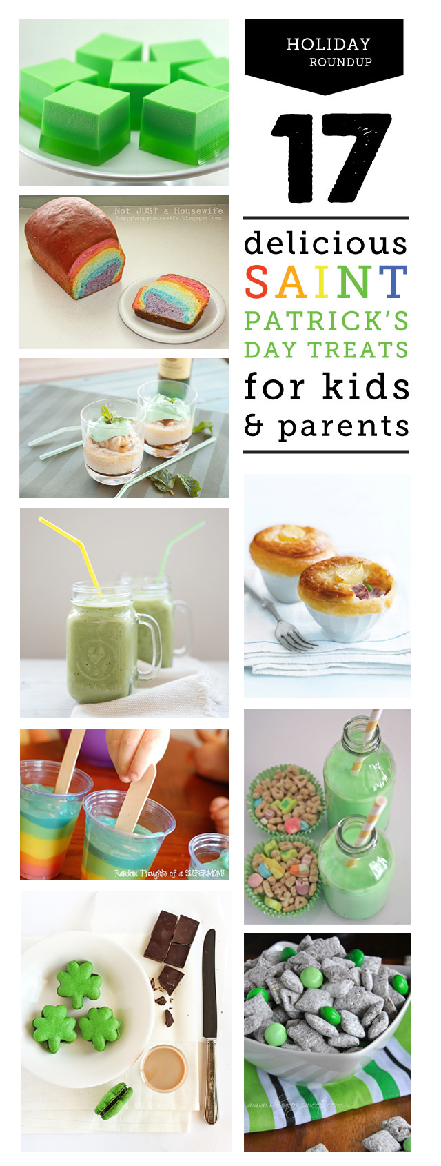 So many great St. Patrick's Day recipes here - definitely gonna make the rainbow bread and/or pudding pops with the kids and the Irish coffee sundaes for me and the hubs...gonna have to make the green velvet cupcakes too!