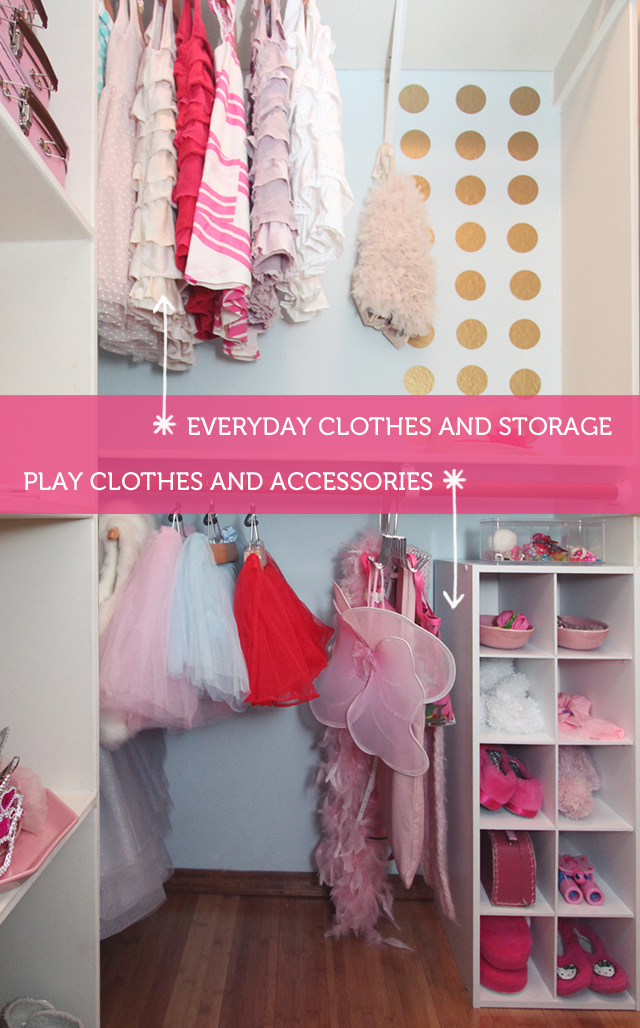 How to create a child's closet space that encourages dress-up and imaginative play while keeping everyday clothes organized.
