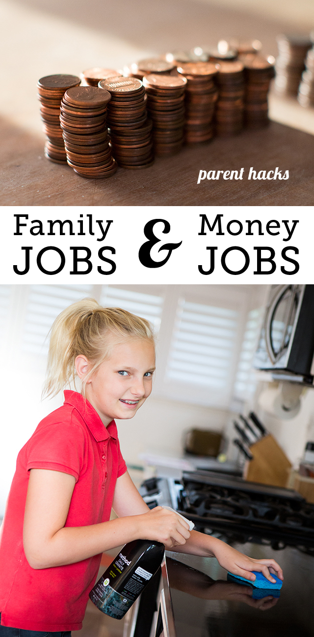 Family jobs and money jobs both have their place in teaching kids responsibility - get tips on how to use them effectively