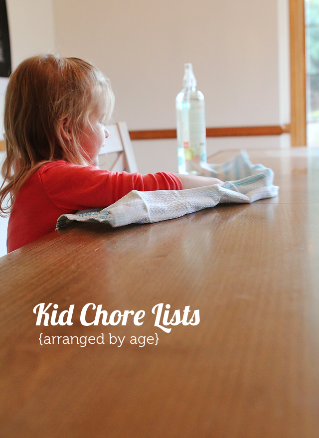 A great list of kids' chores arranged by age plus a clever chore game to help prevent entitlement.