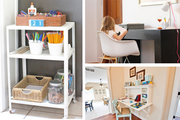 So many good ideas on setting up homework stations in small spaces