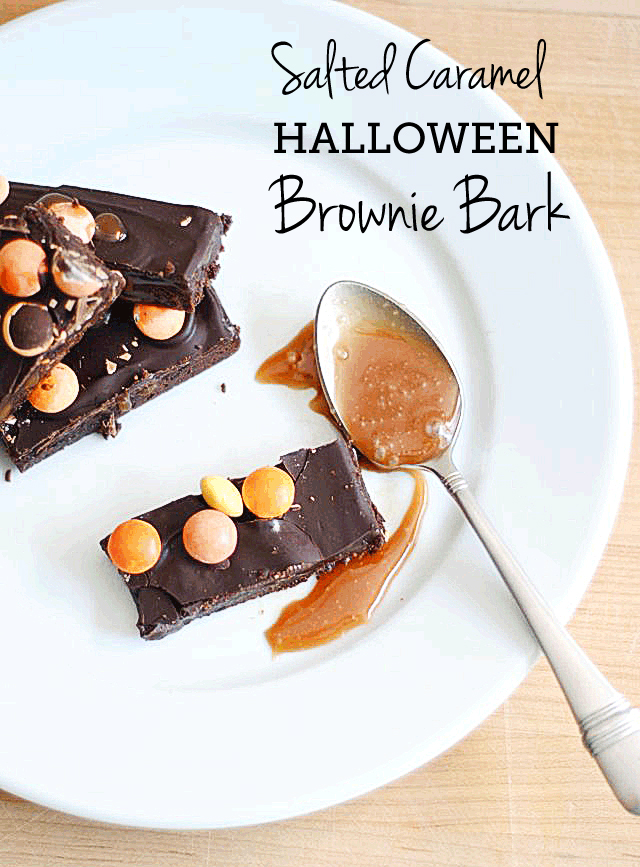 "Salted Caramel Halloween Brownie Bark - as good as it sounds and the perfect thing to ""boo"" your neighbors with (if you can stop yourself from eating it all!)"