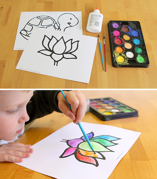 My kids love this super simple method for making stained glass paintings and we always have the materials!