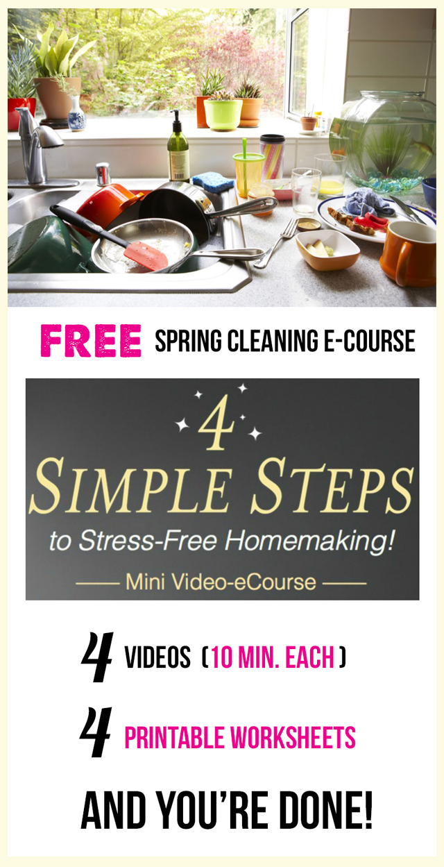 FREE Spring Cleaning, Organizing, and Homemaking video series - four quick 10 minute videos and 4 worksheets to go along with them. I am so doing this!!!