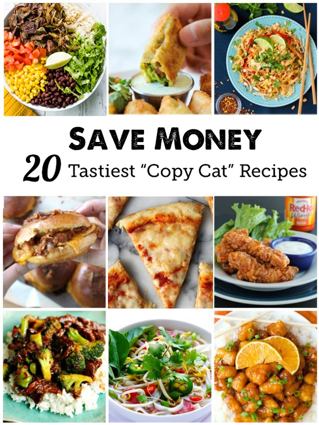 "20 ""Copy Cat"" Take Out Recipes - we eat out about once a week, this could save us so much money!"