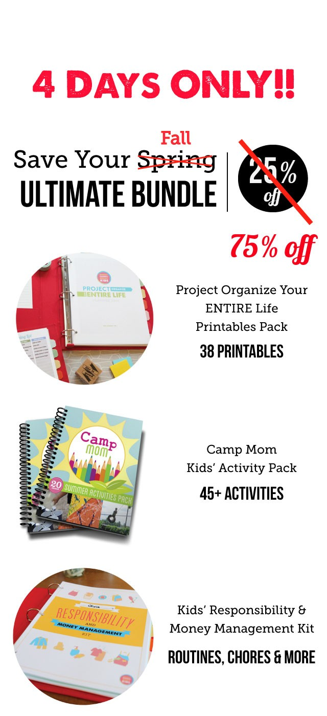 FLASH SALE - Tons of awesome printables to get both Mom and the kids organized and having fun: planner pages, kids' routines, family jobs, money jobs, and entire activity ebook and much more!