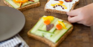 Open Faced Halloween Sandwiches - such a fun and easy idea and love that it doesn't already load them up with sugar before trick-or-treating