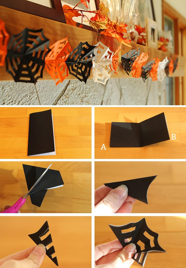 Diy halloween decor how to make origami spiderweb garlands for Halloween decorations to make at home for kids