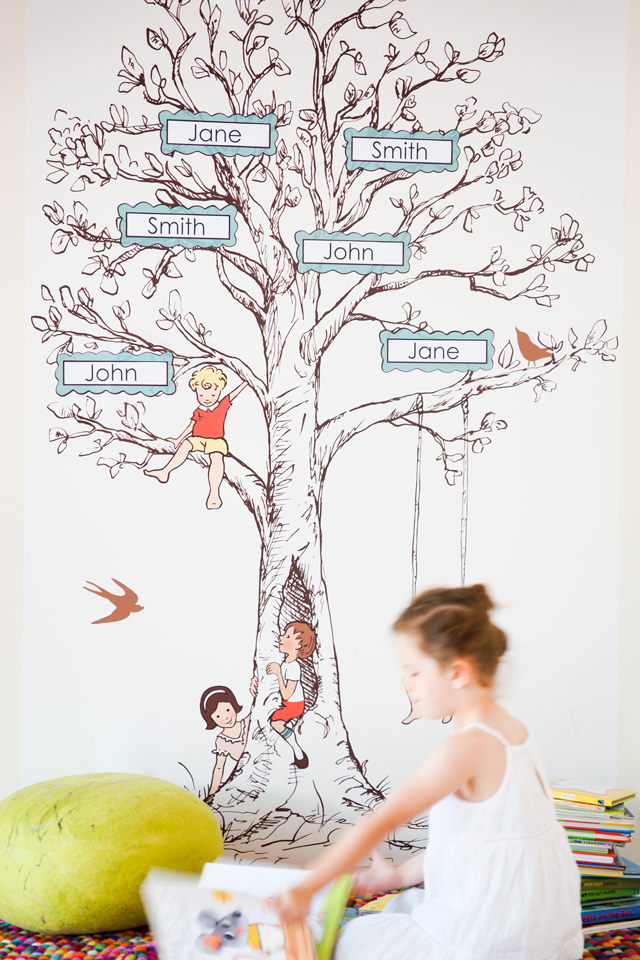 Gorgeous fabric and reusable family tree wall decal for kids' spaces- I love the whole collection!