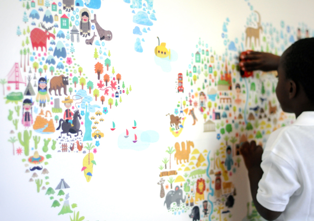 Gorgeous fabric and reusable world map wall decal for kids' spaces- I love the whole collection!