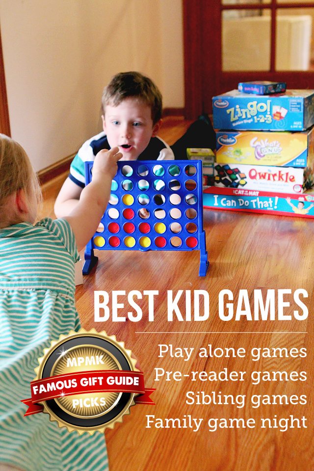 MPMK Toy Gift Guides: Best Kid Games for family night, best games for siblings, and best kid games to play alone. This is an amazing resource full of so many great detailed suggestions with age recommendations. LOVE!!