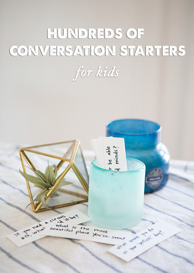 Hundreds of dinner conversation starters for kids- tons and tons of printable conversation starters to get the kids talking at dinner time. We started using these every night!